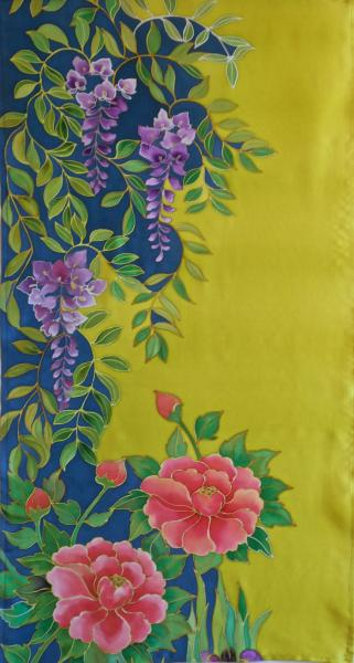 Hellenne Vermillion, Wisteria & Peony wall hanging